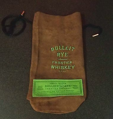 New Suede Fabric Bulleit Rye Frontier Whiskey Logo Bag. 750 Ml