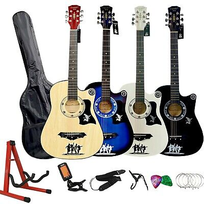 "4/4 38-40"" Classic 6 Strings Acoustic Guitar Package Pack Boys Girls Music Gifts"