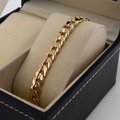 """18k Yellow Gold Filled Charms Bracelet 9.2""""Chain 9mm Smooth Curb Link GF Jewelry"""