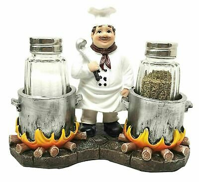 Fat Chef Cooking Soups Glass Salt & Pepper Shaker Holder Home Decor Figurine
