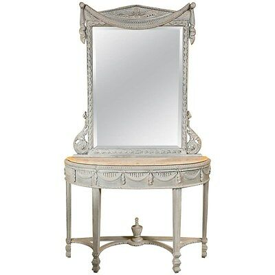 Swedish Style Paint Decorated Marble Top Console with Mirror   101-6912