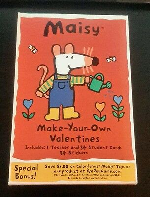 Lucy Cousins Maisy Valentines Nib 2002 35 Make Your Own Cards Stickers H98