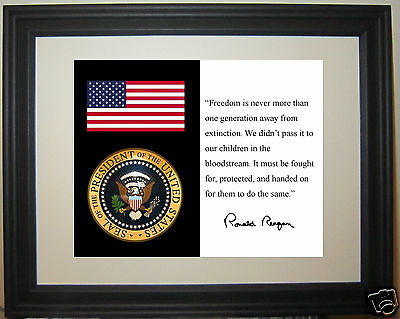 """Ronald Reagan """" Freedom"""" Quote American Flag Presidential Seal Framed Photo"""