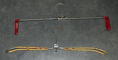 Lot of 2 Vintage/ Antique Clothes Coat Hangers Spring Foldable Marked MAWA HOFIT