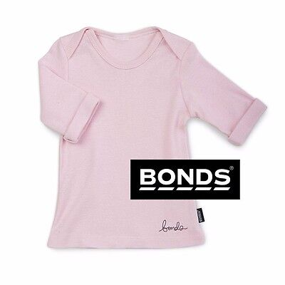 BONDS BABY GIRLS 3/4 LENGTH TOP NEWBIES SLEEVE RIB TEE LIGHT PINK SIZE 0000 0x4
