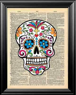 Hippie Colored Artistic Skull Upcycled Vintage Dictionary Page Wall Art Print!