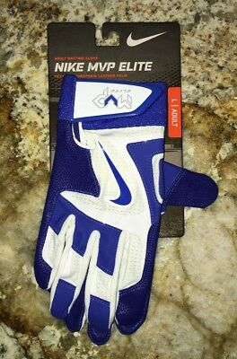 NIKE MVP Elite Royal Blue White Baseball Batting Gloves NEW Mens Sz L LG