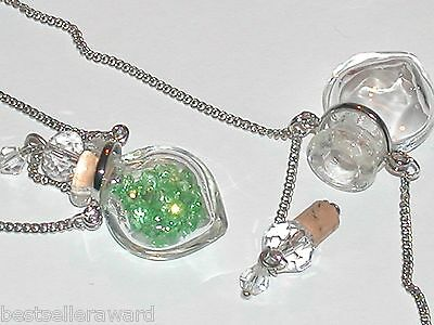 1pc Murano Glass Clear perfume Heart bottle cork pendant vial locket Necklace *