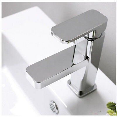 Square Bathroom Kitchen laundry Basin Sink Mixer Faucet Tap Chrome Solid Brass