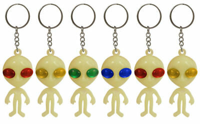 6 Glow In The Dark Alien Keyrings - Pinata Toy Loot/Party Bag Fillers Key Chain