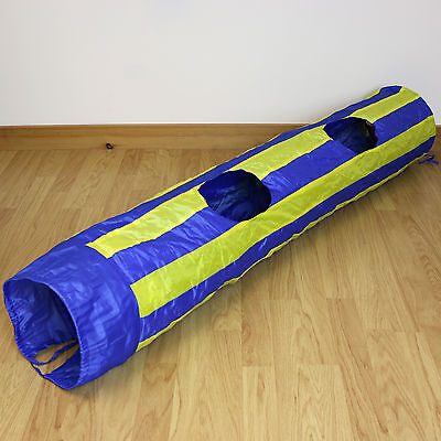 Blue & Yellow Striped Pop Up Cat/Pet Play Tunnel/Kitten Activity Centre Fun/Toy