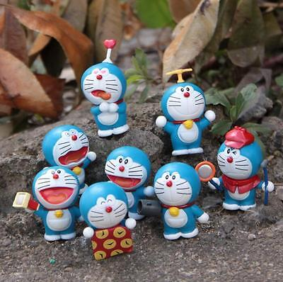 8pcs Doraemon Treasure Chest MINI PVC Action Figure Dolls Toy Birthday Present