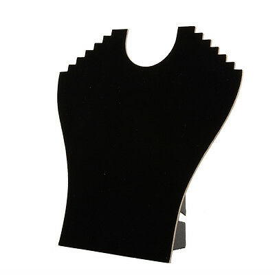 5x Black velvet necklace display boards foldable jewellery stand