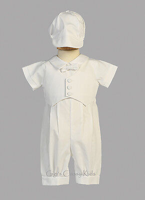 Infant Baby Boys White Cotton Romper Suit Christening Baptism Dedication Tyler