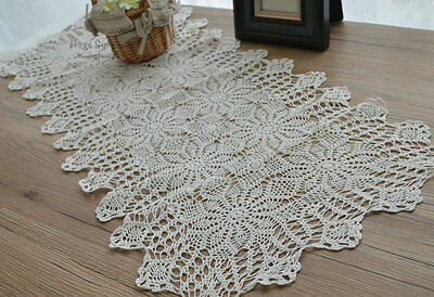 "35"" Vintage White Pineapple Floral Hand Crochet Cotton Table Runner"