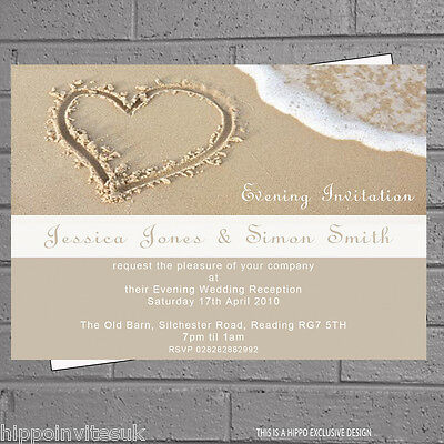 Heart in the Sand Beach Wedding Evening Day Reception Invites x 12 +env H0031