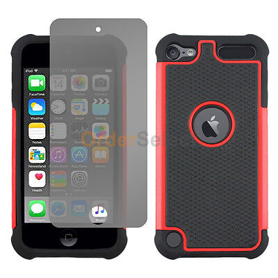 NEW Hybrid Rubber Case+LCD HD Screen Protector for Apple iPod Touch 6 6th Red