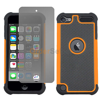 Hybrid Rubber Hard Case+LCD Screen Guard for Apple iPod Touch 6 6th Gen Orange