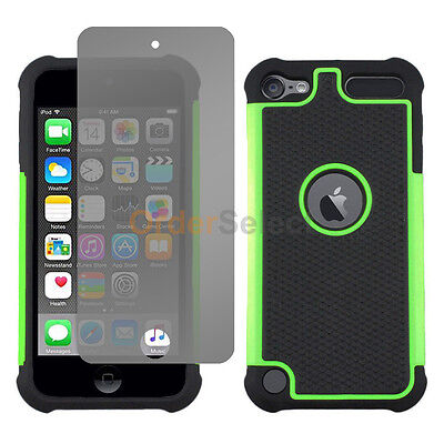 NEW Hybrid Rubber Case+LCD HD Screen Protector for Apple iPod Touch 6 6th Green
