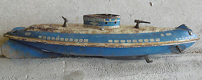 """RARE 1940s Wolverine Pittsburgh PA Wind Up Tin Litho Submarine Toy 13"""" Long"""