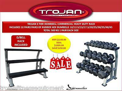 Dumbell Rack 3 Tiers Commercial Heavy Duty + 500 Kg Rubber Hex Dumbells