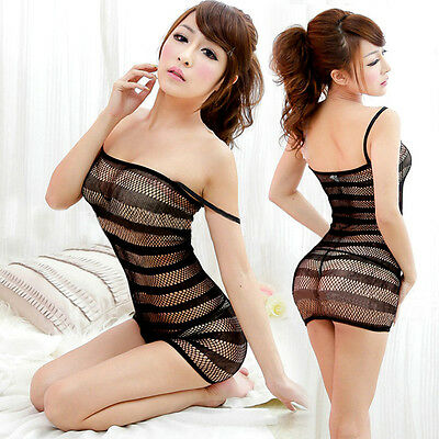 New Sexy Open Crotch Skirt Crotchless Fishnet Sheer Body Dress Lingerie Hot Sale