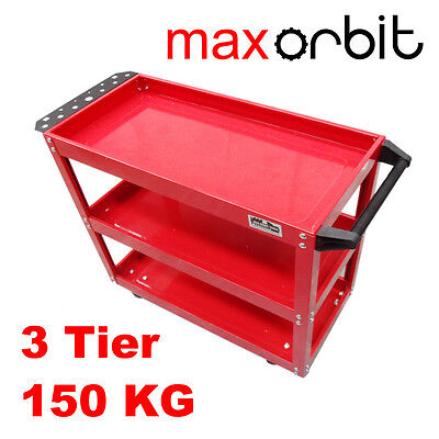 Heavy Duty All Steel Mechanic 3 Tier Tool Cart Trolley 3 Level Tray 150KG Load
