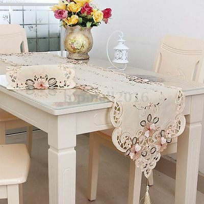 Flower Table Runner Mat Tablecloth Wedding Party Home Decor Embroidered 4 Size