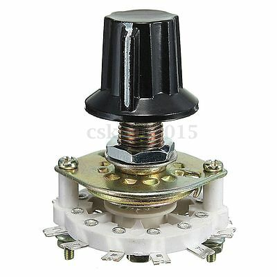 2P5T Channel Band Rotary Switch Selector 2 Pole 5 Position 1 Deck with Knob