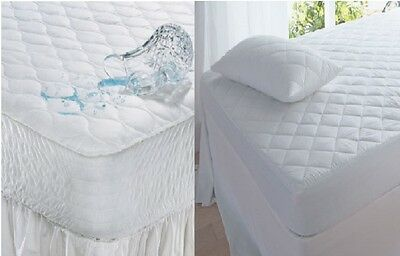 PLAIN QUILTED / WATERPROOF QUILTD Mattress Protector Fitted Sheet Cover-All Size