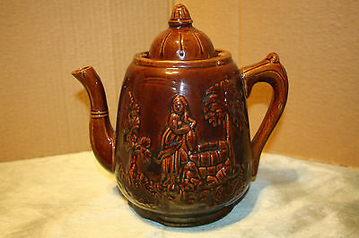 Large Antique Bennington Coffee / Tea Pot  Pitcher w/ Girl at Oasis Water Well