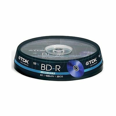 10 TDK Blu Ray BD-R Disc (4x) 25GB T78088 Spindle/Cake Box
