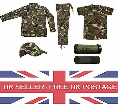 Kids Childrens Army Clothing Trousers Jacket T Shirt Hat Camo DPM Brand New UK