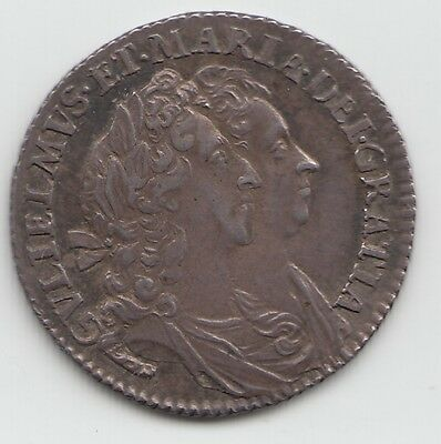 Very Rare 1694 Silver Sixpence 6d - William & Mary