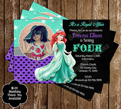 Disney Princess Ariel - Little Mermaid Birthday Invitations - 15 Printed W/envel