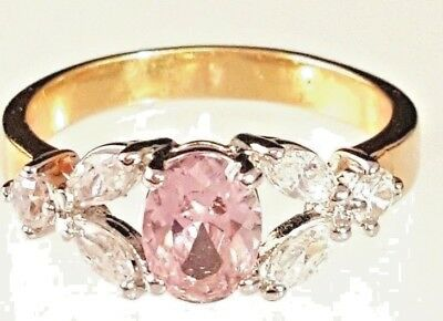 Gold Plated Vintage Style Cocktail Ring Cubic Zirconia Pink Sizes 5,7,8,9,10,11