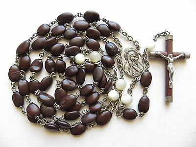 Long Vintage Spina Christi (Crown of Thorns) & MOP Beads Pilgrimage Rosary-27""