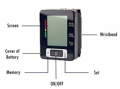 Lychee Automatic Digital Wrist Blood Pressure Upper Monitor Heart Beat Meter LCD