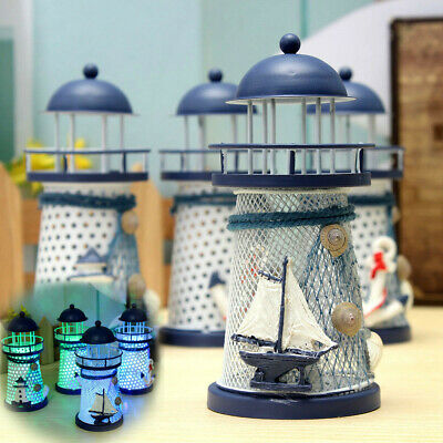 Mediterranean Lighthouse Iron Candle LED Light sailboat Shell Home Table Decor