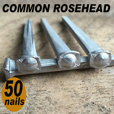 "2"" COMMON ROSEHEAD NAILS ~ Rustic-Vintage-Authentic Cut Nail   ~ QTY (50)"