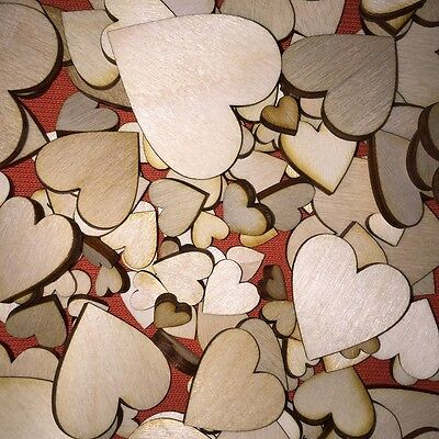 150 pcs+ MIX of WOODEN hearts  1-4cm PERSONALISED WEDDING SCRAPBOOKING CRAFT