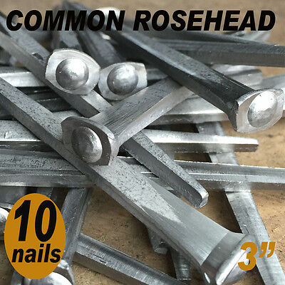"3"" COMMON ROSEHEAD NAILS ~ Rustic-Vintage-Authentic Cut Nail   ~ QTY (10)"