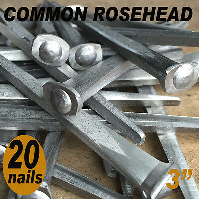 "3"" COMMON ROSEHEAD NAILS ~ Rustic-Vintage-Authentic Cut Nail   ~ QTY (20)"