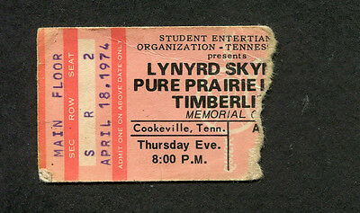Original 1974 Lynyrd Skynyrd concert ticket stub Cookeville TN Second Helping