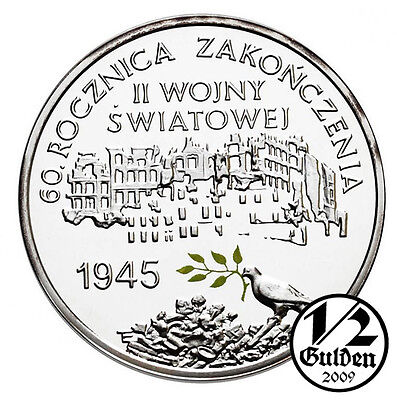 POLAND 10 Zlotych 2005 Ending of World War Two Silver Proof Coin Polish Mint