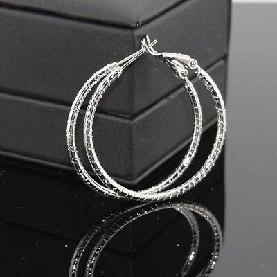 Luxury 18k White Gold Filled Earrings 35mm Carved Hoop GF Charm Fashion Jewelry