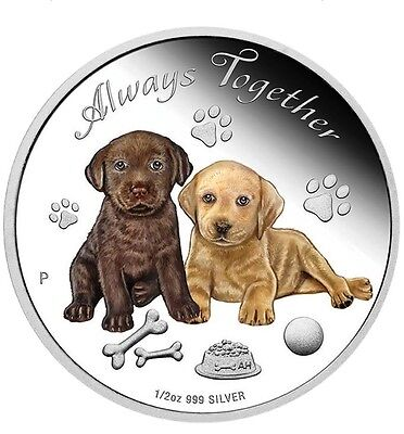 Tuvalu 2016 Always Together Labrador Puppy Dogs Love 50 Cents Silver Coin Proof