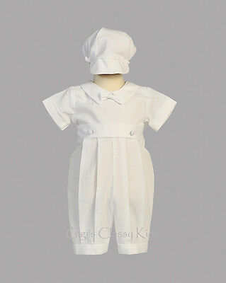 New Baby Boys White Cotton Seersucker Romper Outfit Christening Baptism Raymond