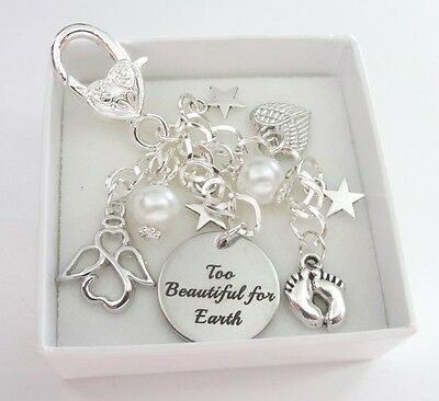 White - Too Beautiful for Earth* BAG CHARM *babyloss,SIDS,memorial,loss,memory