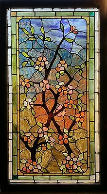 Antique American Floral Stained and Jeweled Glass Window